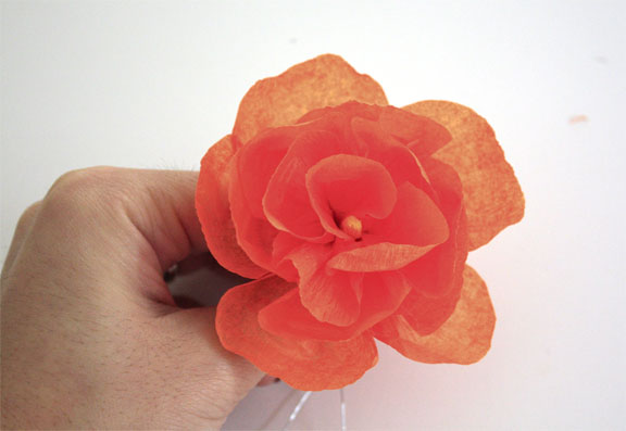 Crepe paper hair flowers